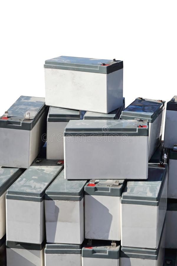 Backup Batteries. Rechargeable Sealed Lead Acid Backup Batteries Power royalty free stock photos