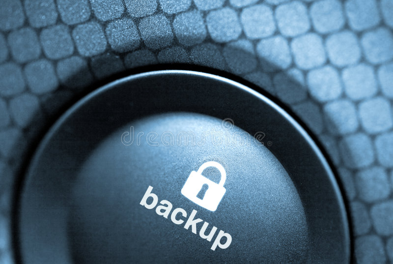 Backup-button. A blue backup button with a lock royalty free stock photography