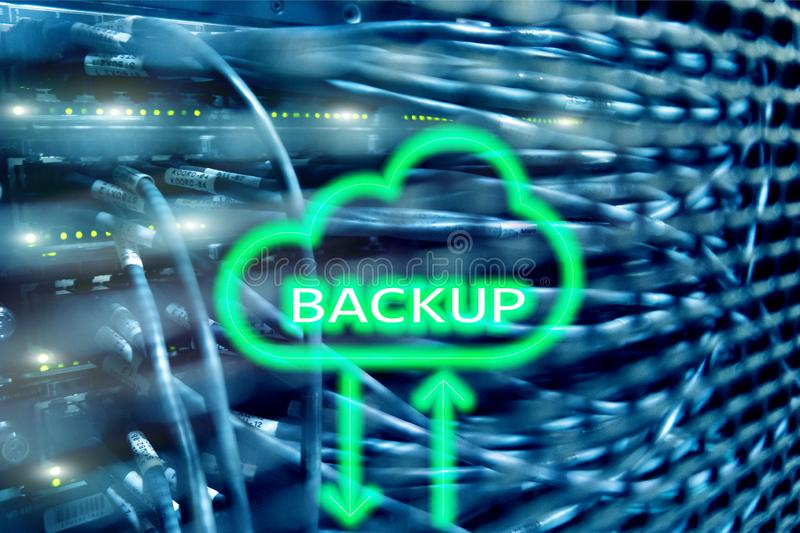 Backup button on modern server room background. Data loss prevention. System recovery.  royalty free illustration
