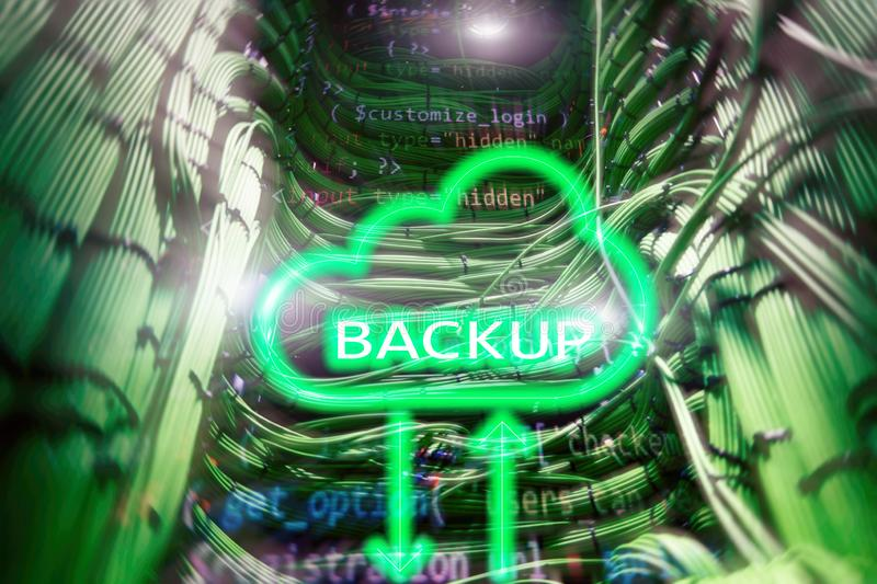 Backup button on modern server room background. Data loss prevention. System recovery. Automation of business Process and innovation technology in manufacturing royalty free illustration