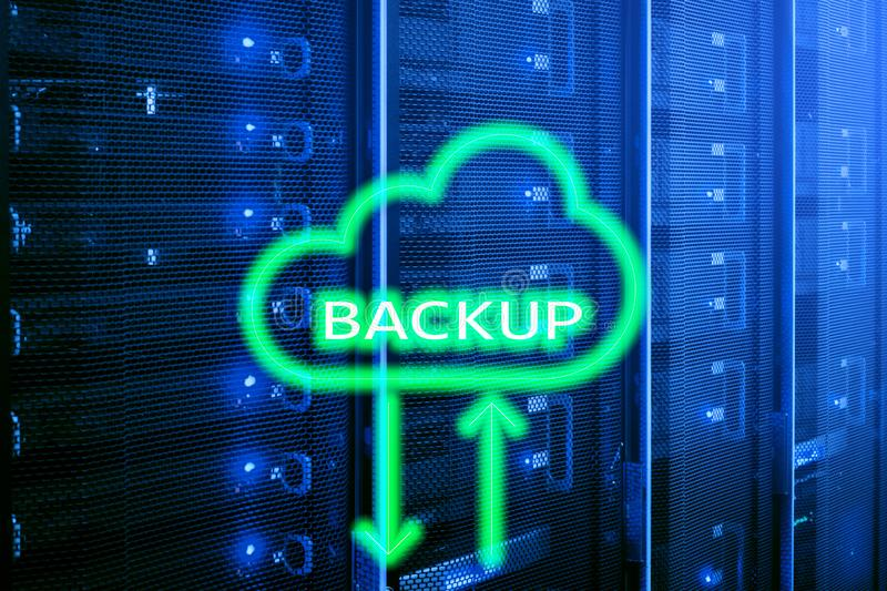 Backup button on modern server room background. Data loss prevention. System recovery. Backup button on modern server room background. Data loss prevention stock illustration