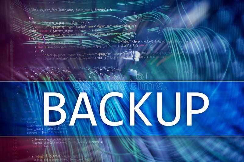Backup button on modern server room background. Data loss prevention. System recovery. Backup button on modern server room background. Data loss prevention vector illustration