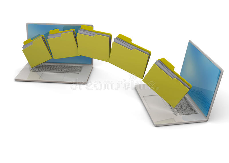 Backup the Computer - 3D. Transfering folder to another computer stock illustration
