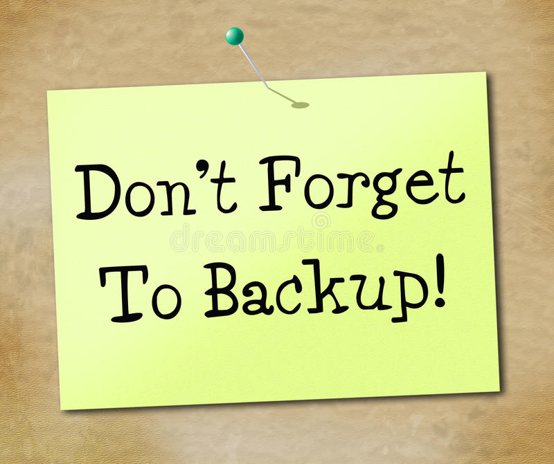 Backup Data Shows File Transfer And Archives. Data Backup Indicating Information Archives And Document royalty free illustration