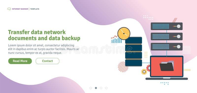 Backup dos documentos e de dados da rede de dados de transferência ilustração stock