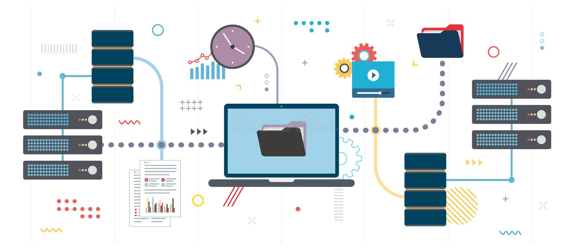 Backup dos documentos e de dados da rede de dados de transferência ilustração royalty free