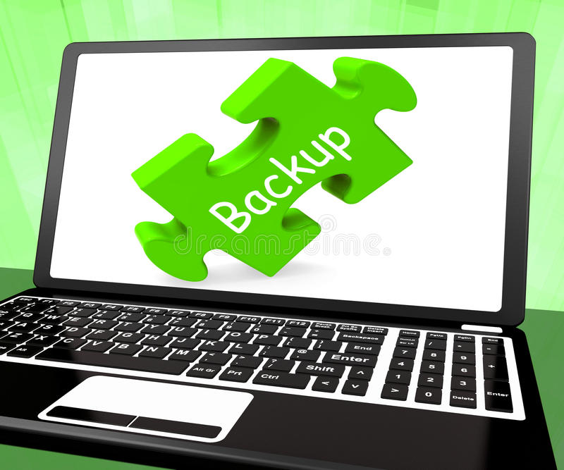 Backup Laptop Shows Data Archiving Back Up And Storage stock illustration