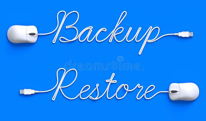 Backup - restore concept with mouse and cable royalty free illustration