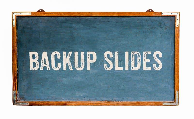 """""""Backup Slides† teksta słowa wiadomość pisać na szerokiego błękitnego starego grungy rocznika drewnianym chalkboard retro bl zdjęcia royalty free"""