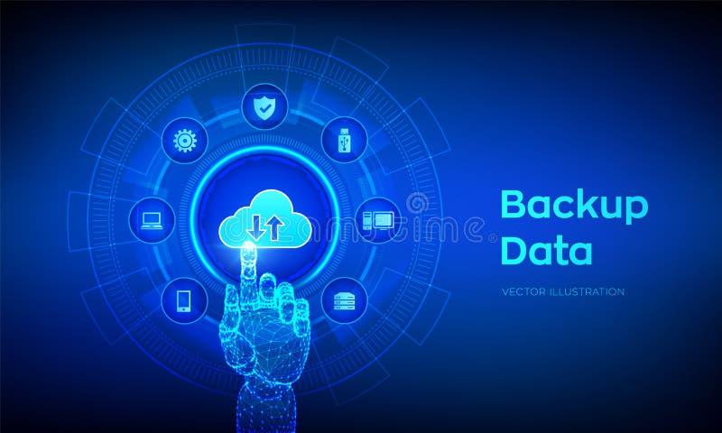Backup Storage Data. Business data online cloud backup. Internet Technology Business concept. Online connection. Data base. stock illustration