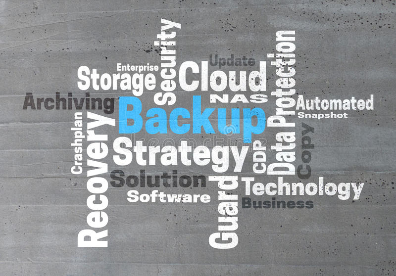 Backup Strategy wordcloud concept. Background stock image