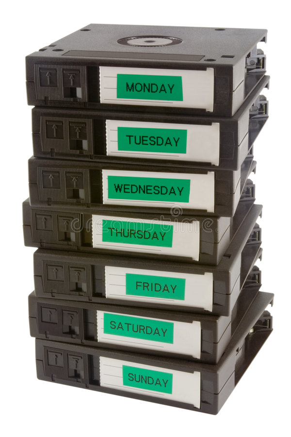 Backup tapes. Computer backup tapes for data recovery stock photo