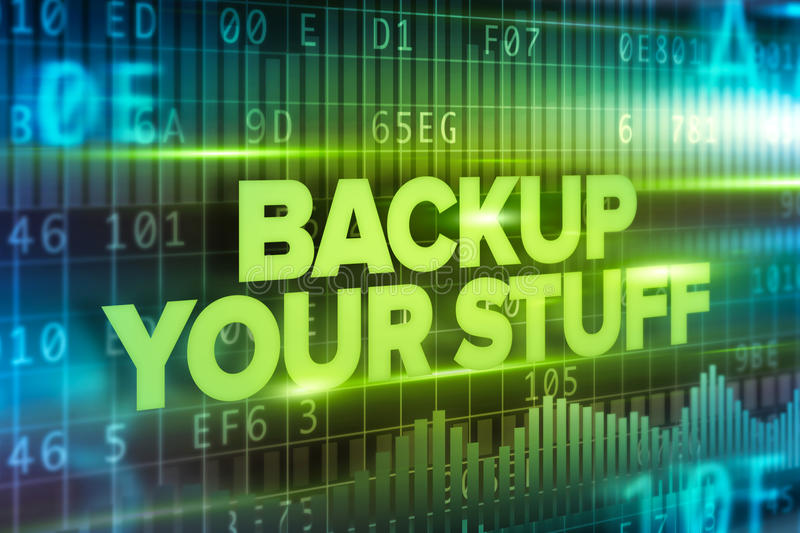 Backup your stuff abstract concept blue text blue background royalty free illustration