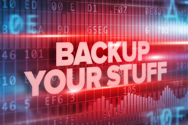 Backup your stuff abstract concept red text red background royalty free illustration