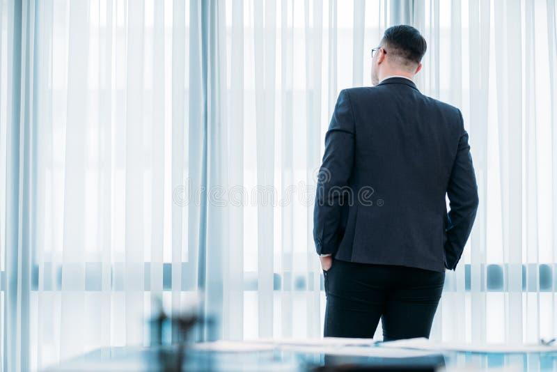 Backview商人办公室断裂神色窗口 免版税库存照片