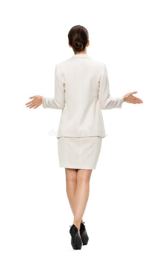 Backview completo da mulher de negócio com braços estendido fotos de stock royalty free