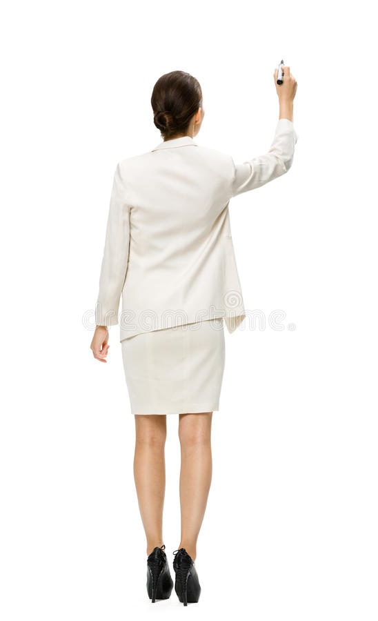 Backview completo da mulher de negócios com marcador imagens de stock royalty free