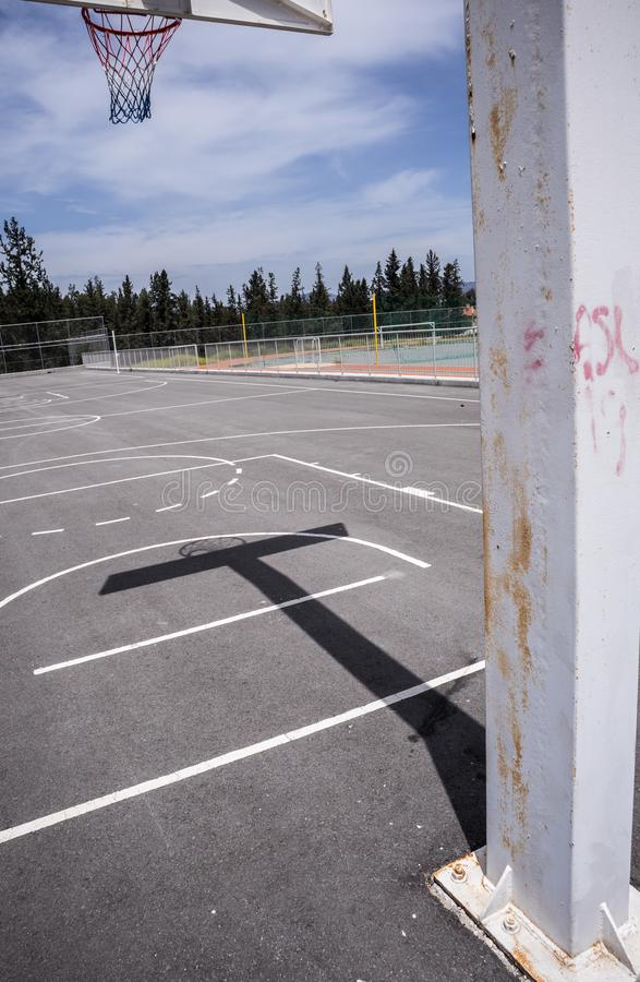 Backview del cerchio di pallacanestro fotografia stock libera da diritti