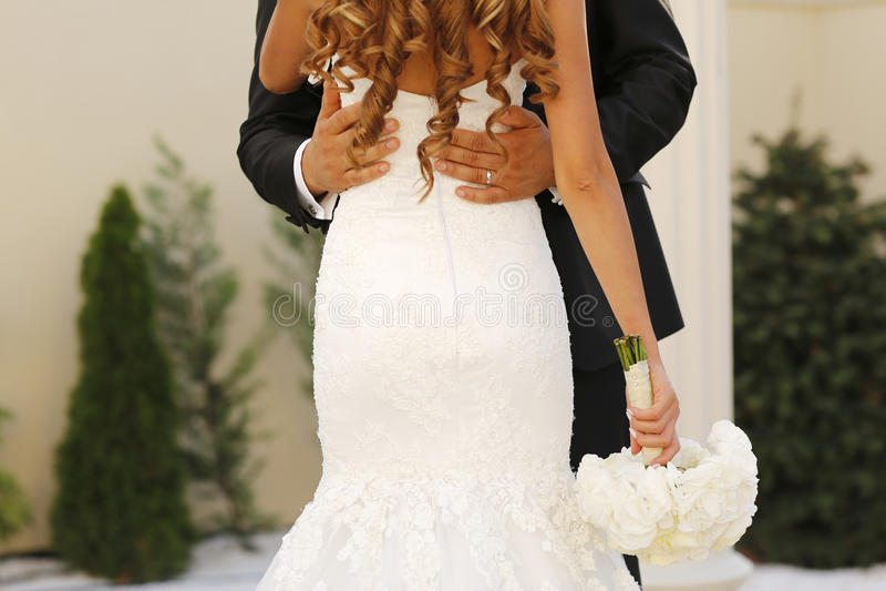 Backview groom держа его невесту стоковое фото rf