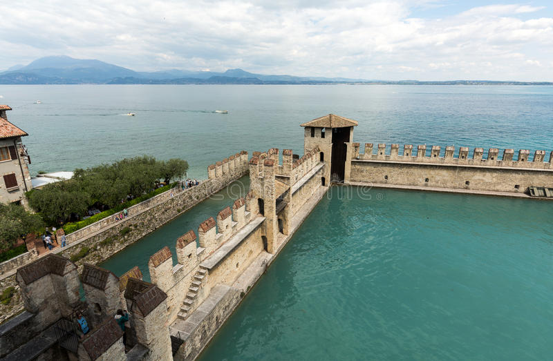 Backwater inside the Scaliger Castle - medieval port fortress, Sirmione, stock photos