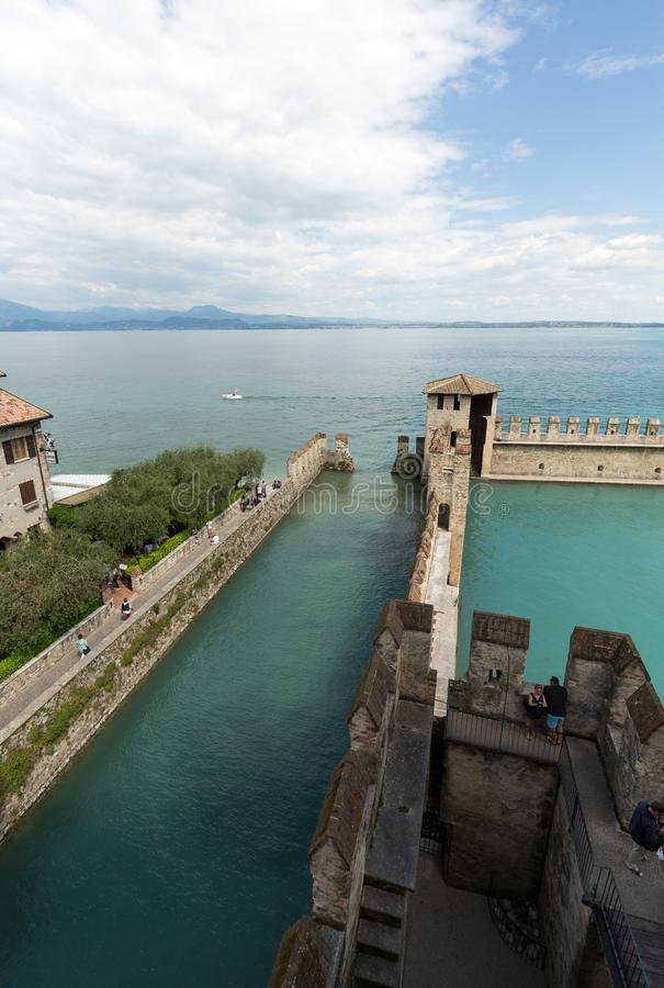Backwater inside the Scaliger Castle - medieval port fortress, Sirmione, stock images