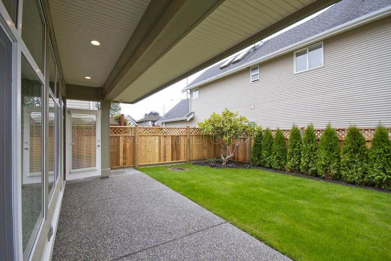 Download Backyard stock image. Image of cedar, shrub, lawn, door - 17002213