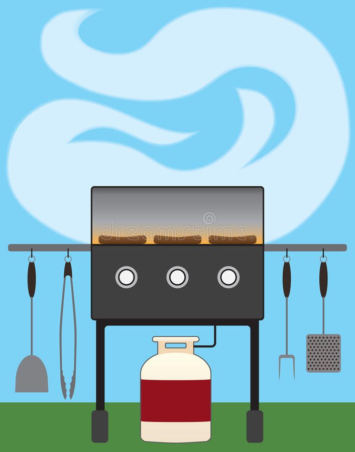 Backyard Barbecue. Hot dogs being grilled on a backyard barbecue royalty free illustration