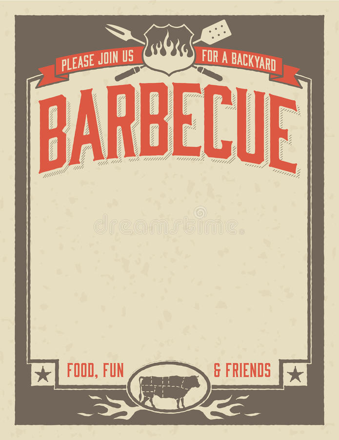 Backyard Barbecue Invitation. Template with vintage look. Easy to edit file royalty free illustration