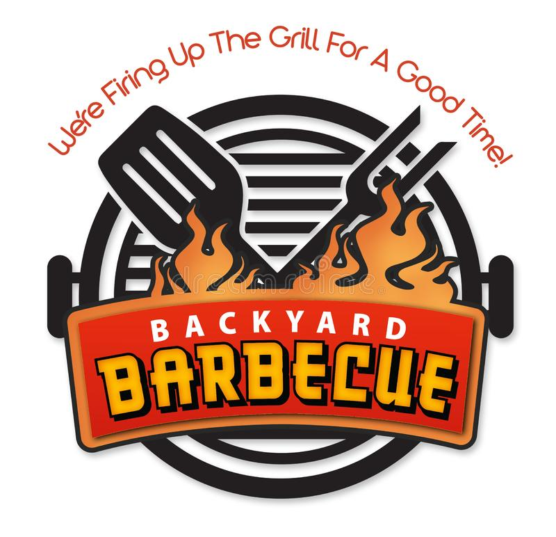 Backyard BBQ Barbecue invitation logo art vector royalty free stock photos