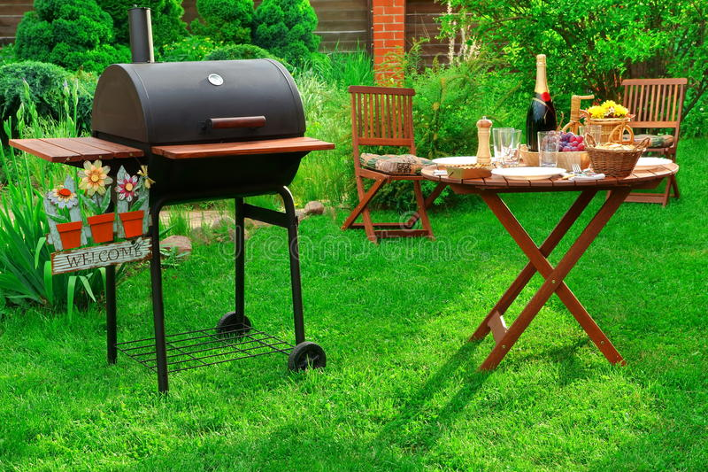 Download Backyard BBQ Party With Charcoal Grill, Wine And Served Table  Stock Image   Image