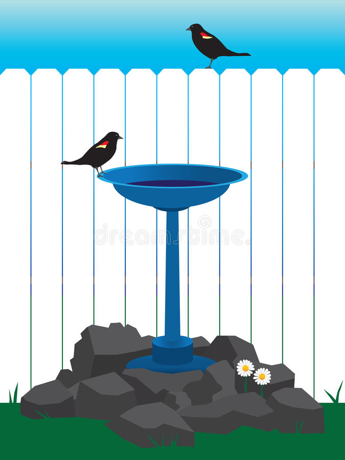 Backyard Bird Bath. Two blackbirds enjoying a backyard bird bath royalty free illustration