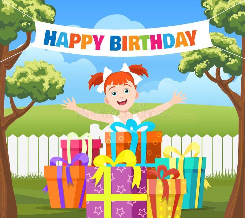 Backyard birthday party scene royalty free illustration