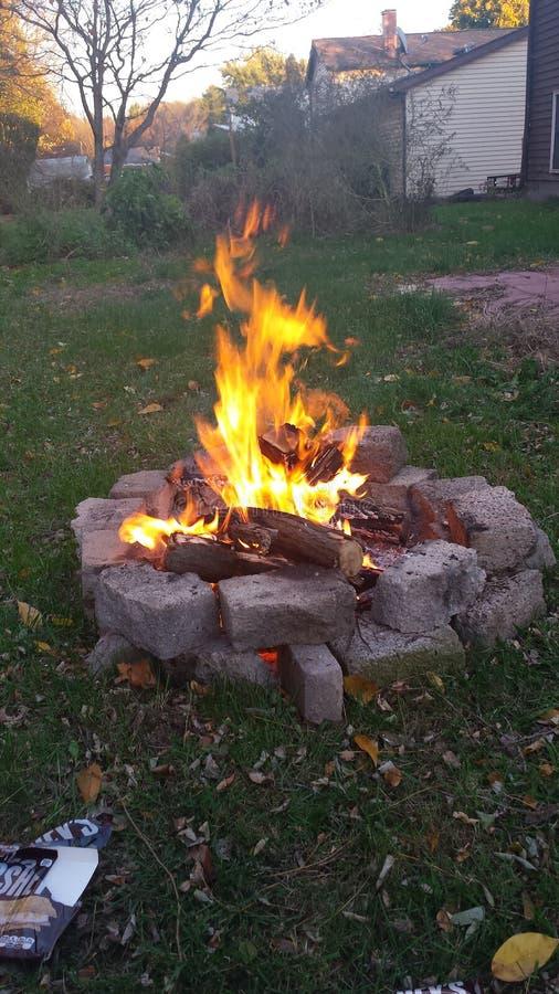 Backyard bonfire stock photography