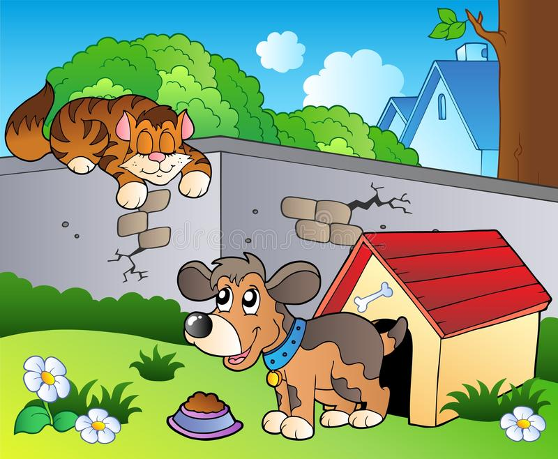 Backyard with cartoon cat and dog. Illustration vector illustration