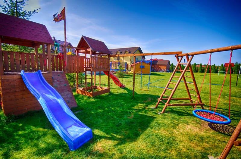Backyard for children stock photo