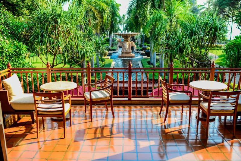 Backyard facing to fountain in sunny day. royalty free stock photo