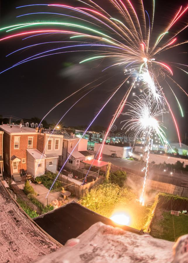 Backyard Fireworks. Fireworks exploding in Wilmington, DE stock image