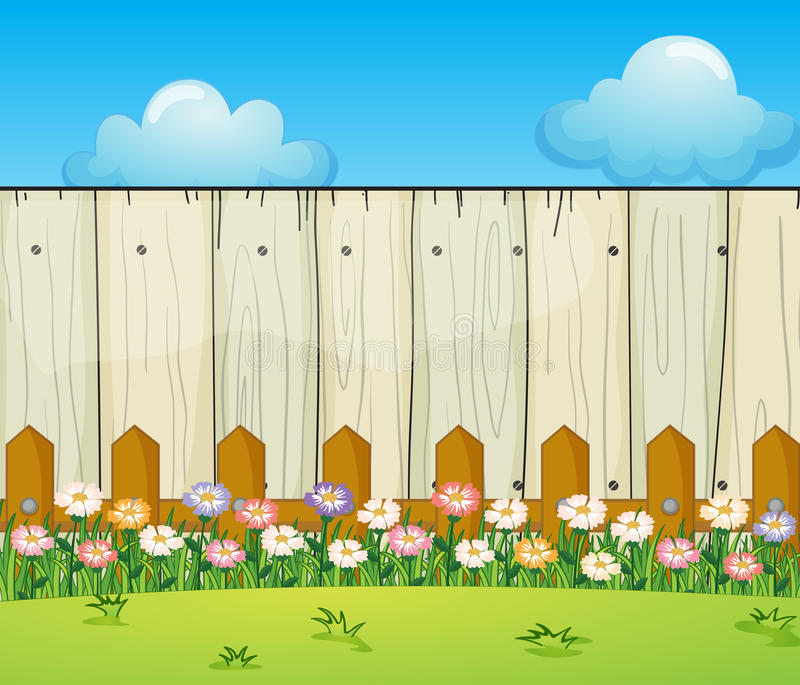A backyard with flowers. Illustration of a backyard with flowers stock illustration