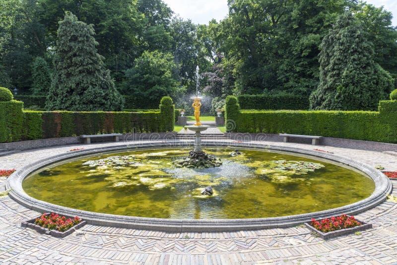Peace Palace backyard fountain royalty free stock photo