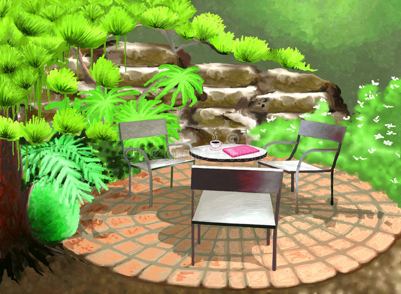 Backyard Garden. Tables and chairs with a cup of coffee and a book in the Backyard Garden stock illustration