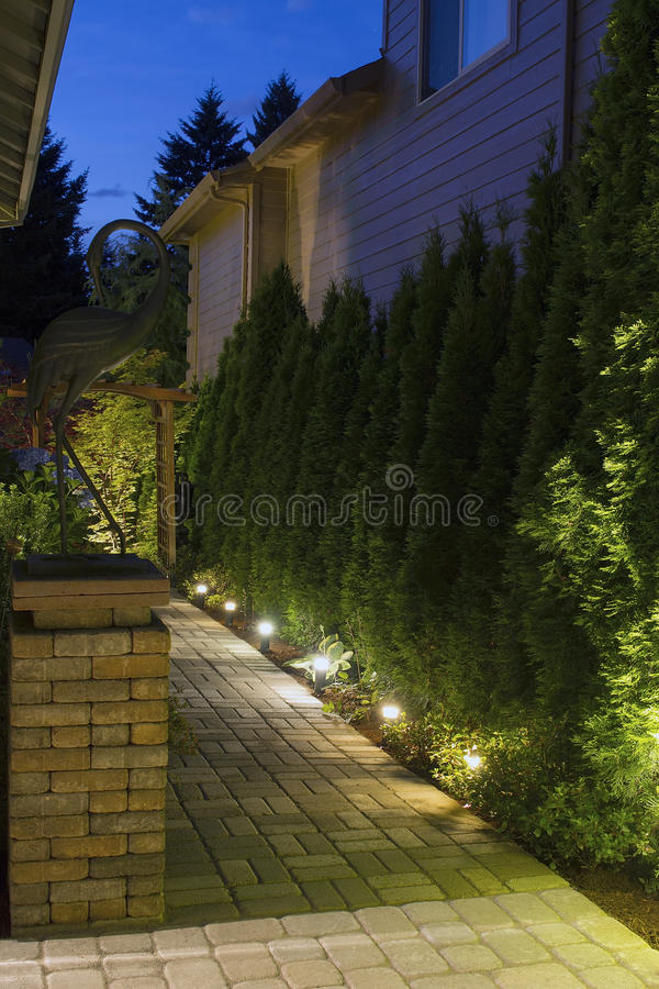 Free Backyard Garden Path At Night Stock Photo - 25663660