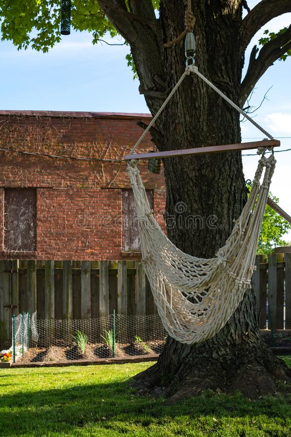 Backyard hammock swing. On a hot spring day. Peru, Illinois stock image