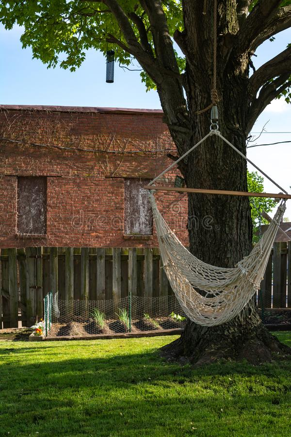 Backyard hammock swing. On a hot spring day. Peru, Illinois royalty free stock image