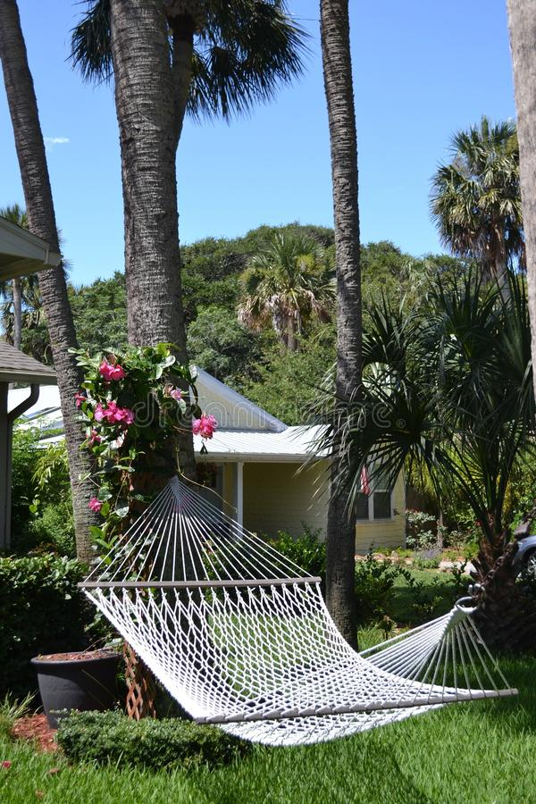 Backyard Hammock in Tropics. White woven hammock, palm trees, azalea bush stock photography