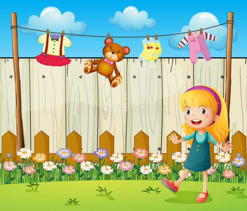 A backyard with hanging clothes and a young girl. Illustration of a backyard with hanging clothes and a young girl royalty free illustration