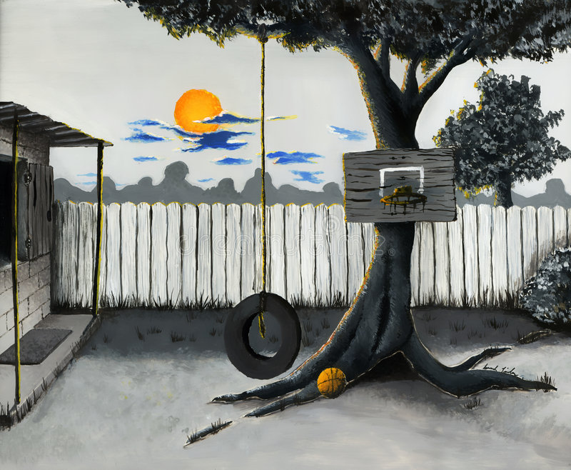 Backyard Illustration. An illustration of a backyard at sunset. Complete with an old grill, basketball hoop, and a tire swing hung in the giant oak tree royalty free illustration