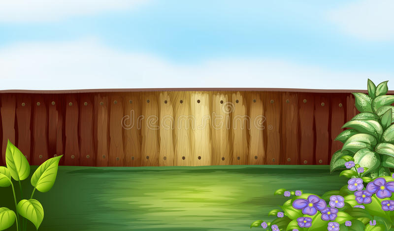 Backyard. Illustration of a backyard with a wooden fence vector illustration