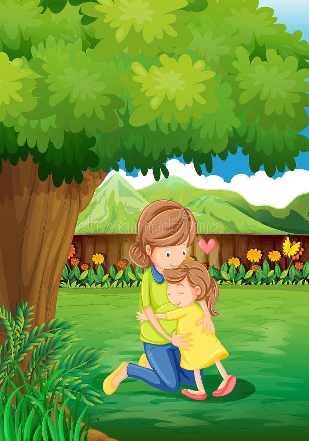 A backyard with a mother and a child. Illustration of a backyard with a mother and a child royalty free illustration