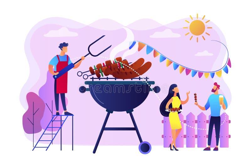 Backyard party concept vector illustration. stock illustration