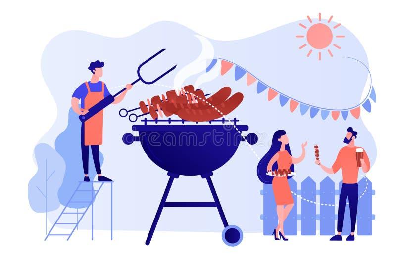 Backyard party concept vector illustration. royalty free illustration